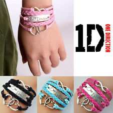UK Infinity Love Heart One Direction  Sideway Braided Leather Bracelet Wristband