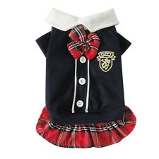 Good Winter Small Dog Cat Pet Clothes Apparel Red Plaids Bowtie Dress Costumes