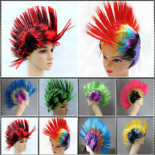 Rainbow Mohawk Hair Wig Mohican Rooster Fancy Costume Punk Rock Halloween Party