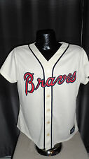 MLB Atlanta Braves Beige Alternate Replica Jersey Shirt Womens Size Nwt Majestic