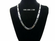6MM 8MM 10MM wide 925 Sterling Silver Chain Men Figaro Necklace 18-24INCH