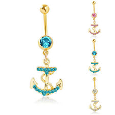 New 14G Crystal Piercing Jewelry Boat Anchor Belly Ring Lady Beauty Navel Ring