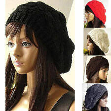 Women's Beret Braided Baggy Knit Crochet Beanie Hat Ski Cap Winter Warm Cap