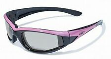 Womens Pink Padded Motorcycle Sunglasses-TRANSITION PHOTOCHROMIC or Flash Mirror