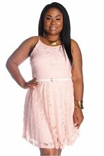 121AVENUE Alluring Floral Knitted Lace Dress 1X 2X 3X Women Plus Size Pink