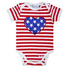 Baby Red White Stripes Star Heart 4th July Boy Girl Bodysuit Romper 0-12M