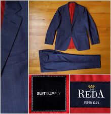 $650 Suitsupply Blue Check Sienna Suit, 40R, 34W x 29L Red Line, Reda Super 130s