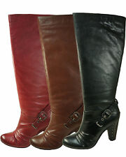 Frye Womens Bethany Strappy Soft Black-Brown-Red Pull-On Fashion Knee-High Boots