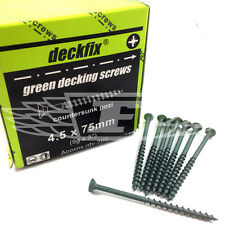DECKING SCREWS 4.5 x 75mm GREEN COATED TIMBER POZI COUNTERSUNK EXTERIOR