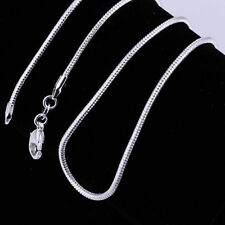 "Fashion  925  Sterling Silver Lovely Snake Chain Necklace 2MM 16""-24"" C010"