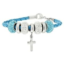 Steel by Design Genuine Leather Bracelet with Cross and Crystal Beads QVC