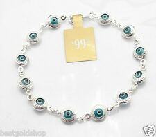 Ocean Blue Greek Key Evil Eye Ankle Bracelet Anklet Real 925 Sterling Silver