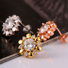 Fashion New Jewelry Bling Crystal Zircon Gold-plated Nice Flower Stud Earrings