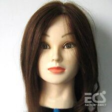 "24"" ~ 100% Real Human Hair Dark Brown Cosmetology Salon Training Head Mannequin"