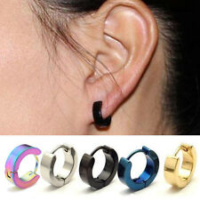 2pcs Charm Punk Mens Women Stainless Steel Hoop Huggies Gothic Ear Stud Earrings