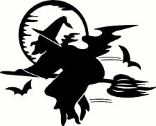 Halloween witch on broom & Moon Vinyl Wall or Vehicle Sticker Decal Die Cut 1018