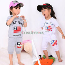 Kids Boys Girls Flag Letters Printed Summer Hoodies Tops T-Shirt Pants Sets New