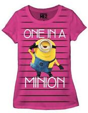 Despicable Me One In A Minion Striped Juniors T-Shirt - Pink / Black
