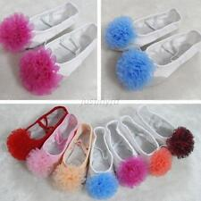 Child Flower Canvas Ballet Dance Shoes Slippers Pointe Dance Gymnastics 5 Sizes