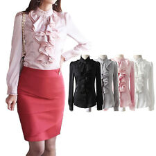 Shirt Party Ruffle Long Sleeve Satin Blouse Womens Vintage Office Silky Top Size