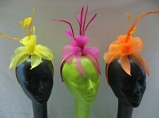 Bright Color Mini Fascinator Cocktail Hat Headband Tulle Netting Feathers Women