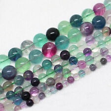 6,8,10,12,14mm Natural Beautiful Fluorite Round Loose Beads 15""