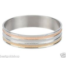 QVC Tri-Color Round Bangle Stainless Steel by Design Yellow White Rose Gold Clad