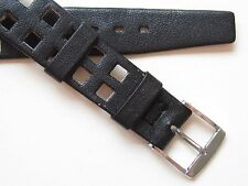 "Vintage 50's black square holes 16 mm wirelug ~ ""open end"" watch band"