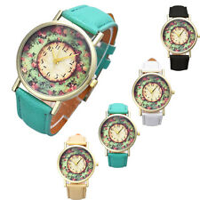 Women Leather Band Watch Pastorale Floral Watch Analog Quartz Dial Wrist Watch