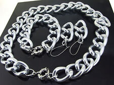 Newest Shiny Smooth O Silver Plated Chunky Aluminium Curb Chain Necklace Br/set