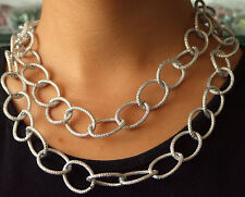 "Newest Dot Cut Shiny O Silver Plated Aluminium Chunky Curb Chain Necklace18"" 38"""