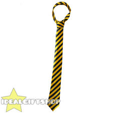 YELLOW AND BLACK THICK SATIN STRIPED NECK TIE SCHOOLBOY FANCY DRESS ACCESSORY