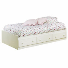 Platform Storage Bed Frame Twin Size With 3 Drawers White Chocolate Blueberry