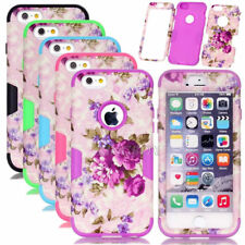 Purple Flower Pattern Silicone Shockproof Combo Matte Case For iPhone 6 / 6 Plus