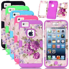 Peony Flower Pattern Silicone Shockproof Combo Hard Matte Case For iPhone 5C