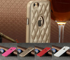 Fashion Deluxe Leather Chrome Hard Case Cover For Apple iPhone 5/6/6 Plus+Film
