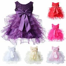 Kids Girls Princess Pearl Bow Tulle Cute Weding Party Pageant Dancing Dress