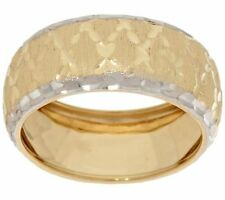 7mm Domed Diamond Cut Band Ring Real Solid 14K TwoTone Gold FREE SHIP QVC