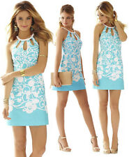 $198 Lilly Pulitzer Pearl Shorely Blue Pick Up Lines Border Cut Out Halter Dress