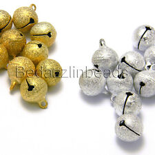 Lot of 10 Big 14mm Round Textured Stardust Jingle Bell Dangle Charms With Loop