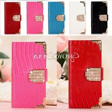 Luxury Diamond Magnetic Bling Shiny Crystal PU Leather Flip Wallet Case Cover