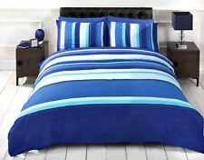 Detroit Blue Striped Polycotton Printed Duvet Cover and Pillowcase Set Rapport