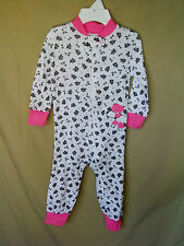 LITTLE ME 100% Cotton White Over Floral Print Sleeper Footie w/Pink Poodle  NWT