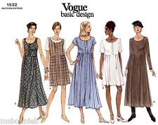 Vogue Loose-fit Raised Waist Dress in 2 Lengths 5 Views Easy Sewing Pattern 1532