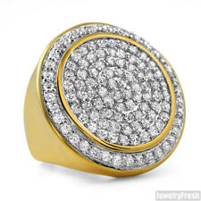 18k Gold Finish CZ Jumbo Hip Hop Mens Round Iced Out Ring
