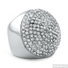 Stainless Steel Jumbo Round Hip Hop Style Iced Out Mens Ring