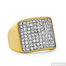 14K Gold IP Simple Iced Out Stainless Steel Mens Ring