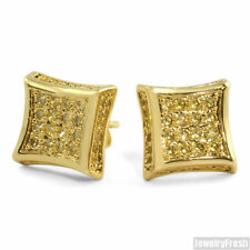 Gold Finish Canary CZ Full Iced Out Mens Kite Earrings