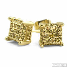 Canary Yellow CZ Small 360 Cube Micropave Gold Mens Earrings