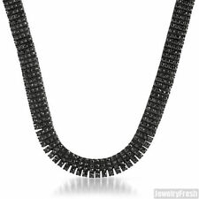 Fully Iced Out 4 Row Black on Black Hip Hop Bling Chain